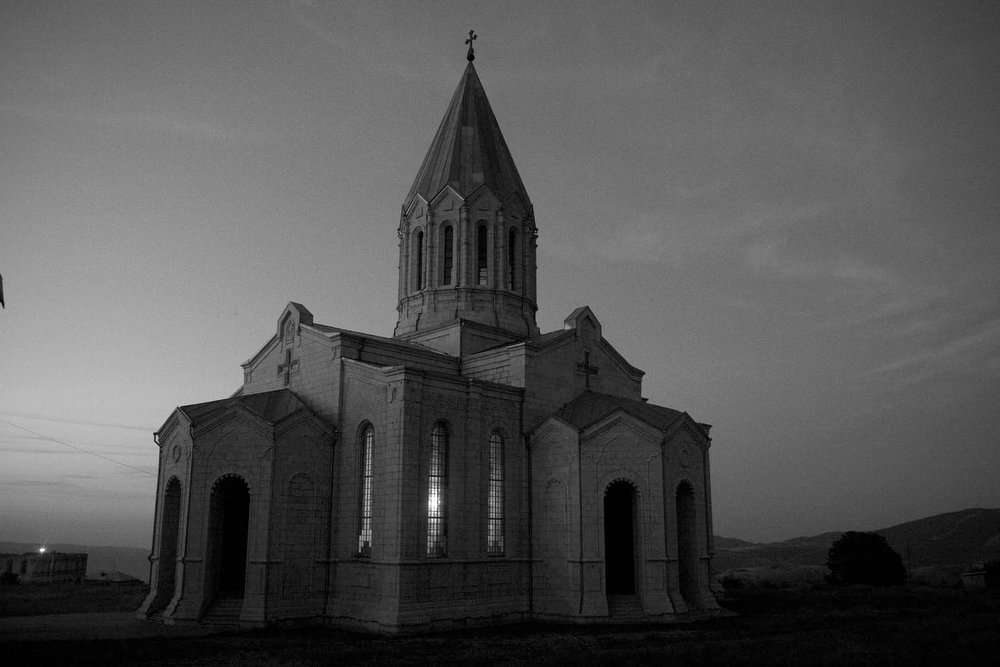 Church at sunset in Shushi, Nagorno Karabakh