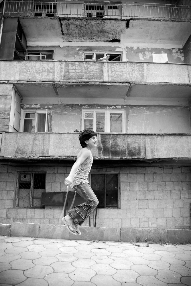 Armenian children play in one of the few streets of Shushi that have been restored.