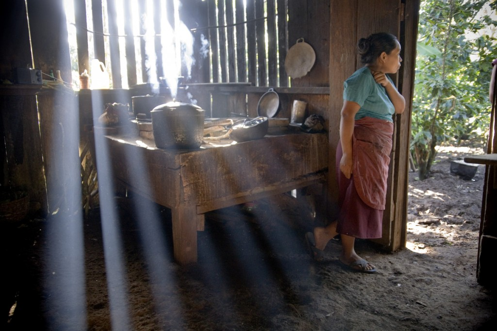 Francisca Arauz Vanega, wife of producer of Finca El Roble looks out of her kitchen as food is being prepared on the wood burning stove.