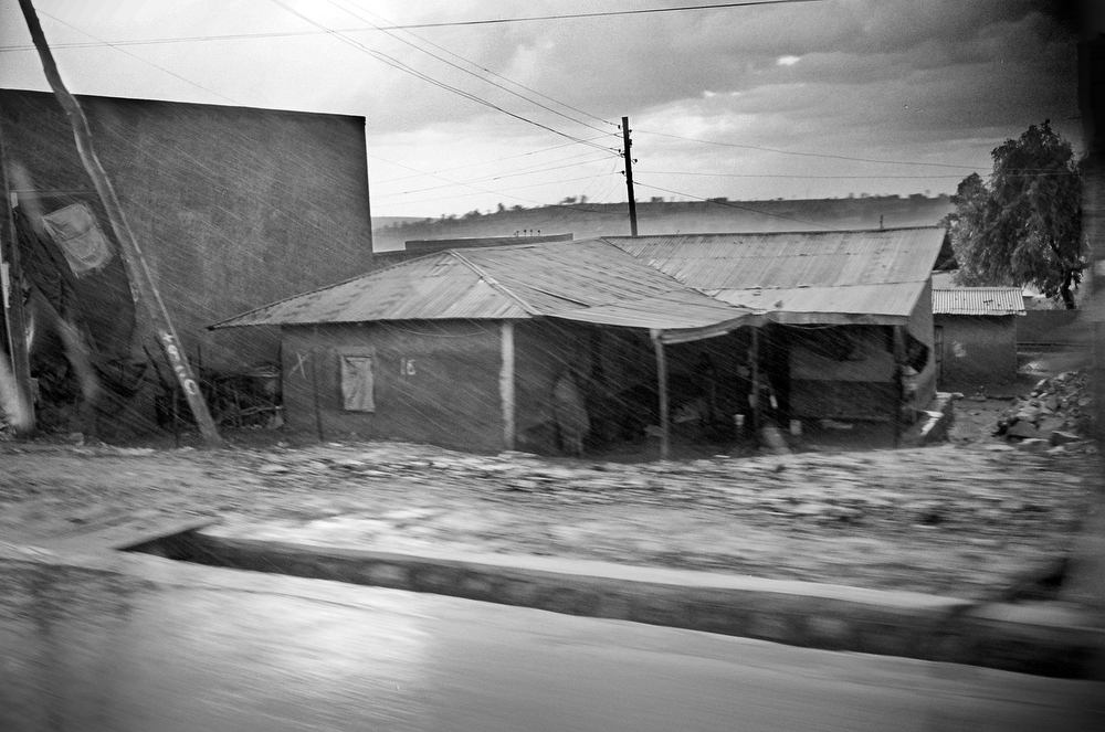 A roadside home in Addis Ababa during torrential rains.